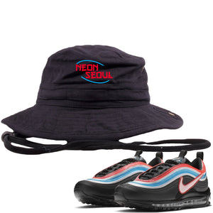 Air Max 97 Neon Seoul Sneaker Hook Up Neon Seoul in English Black Bucket Hat