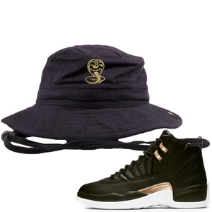 Jordan 12 WMNS Reptile Sneaker Hook Up Cobra Snake Black Bucket Hat