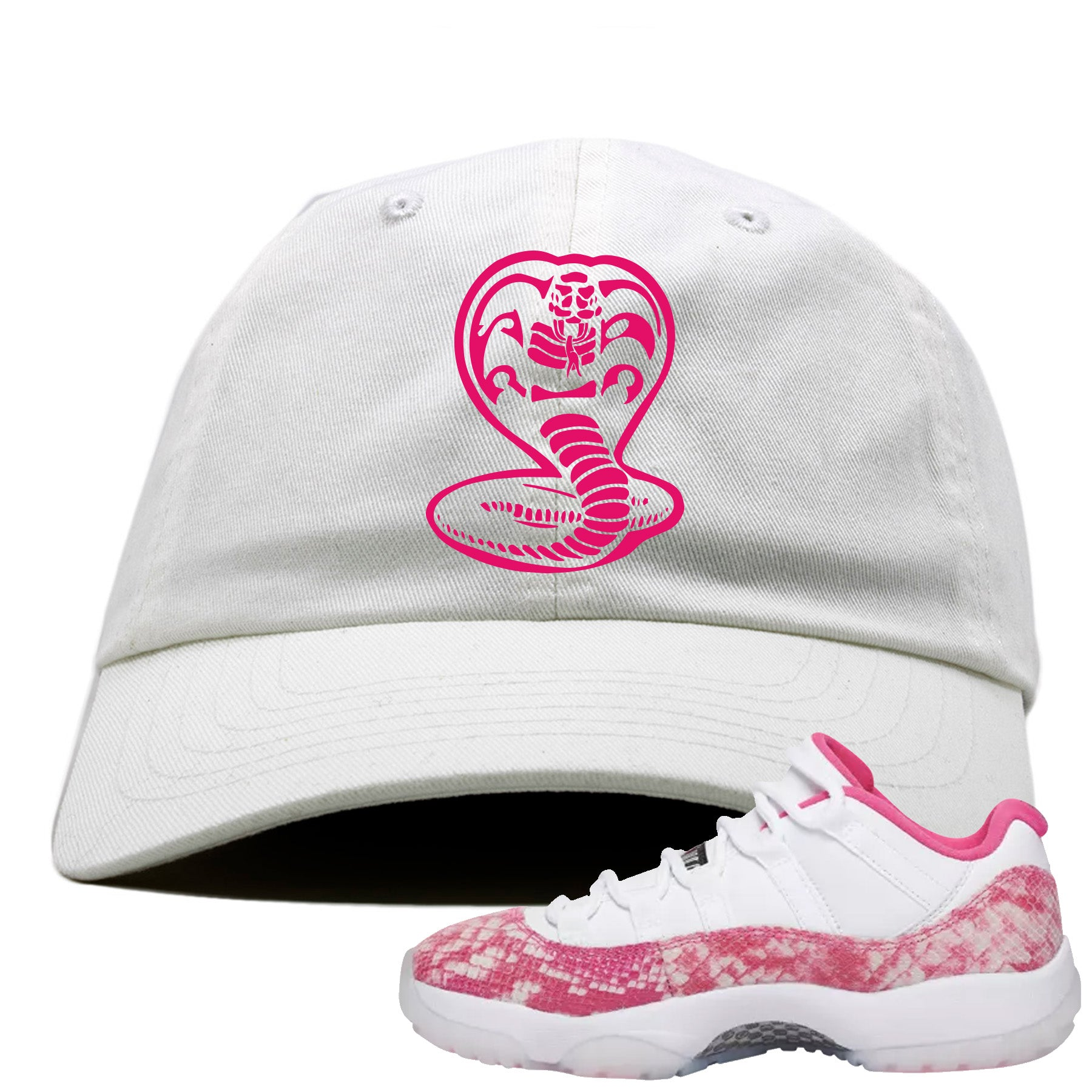 64cbf5f5c55 Air Jordan 11 Low WMNS Pink Snakeskin Sneaker Match Cobra Snake White Dad  Hat