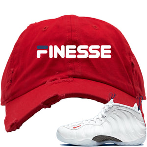Nike WMNS Air Foamposite One USA Sneaker Hook Up Finesse Red Distressed Dad Hat