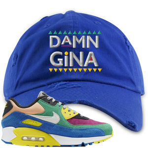 Nike Air Max 90 Viotech 2.0 Sneaker Hook Up Damn Gina Blue Distressed Dad Hat