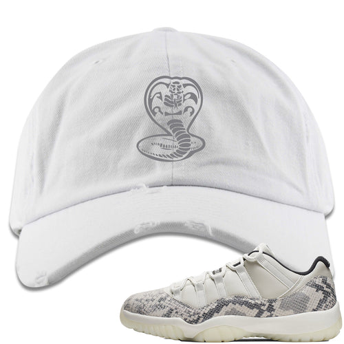 Air Jordan 11 Low Snakeskin Light Bone Sneaker Match Cobra Snake White Distressed Dad Hat