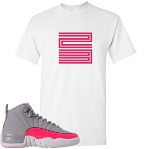 Air Jordan 12 GS Grey Pink Sneaker Hook Up 23 White T-Shirt