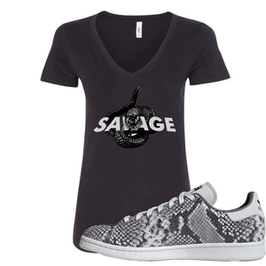 Adidas Stan Smith Grey Snakeskin Sneaker Hook Up Savage Snake Black Women V-Neck T-Shirt
