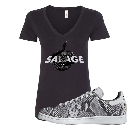 Adidas Stan Smith Grey Snakeskin Sneaker Match Savage Snake Black Women V-Neck T-Shirt