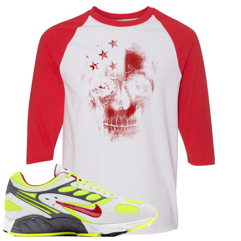 Nike Air Ghost Racer Neon Yellow Sneaker Hook Up Skull White and Red Raglan T-Shirt