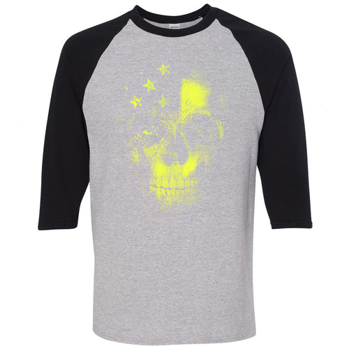 Nike Air Ghost Racer Neon Yellow Sneaker Match Skull Sports Grey and Black Raglan T-Shirt