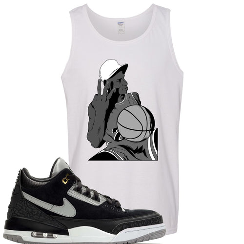 Air Jordan 3 Tinker Black Cement Sneaker Match Jordan Three Fingers White Mens Tank Top