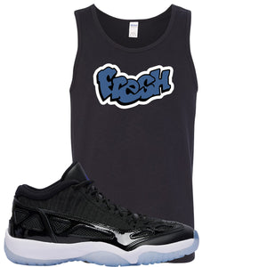 Air Jordan 11 Low IE Space Jam Sneaker Hook Up Fresh Black Mens Tank Top