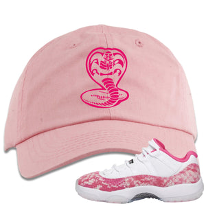 Air Jordan 11 Low WMNS Pink Snakeskin Sneaker Hook Up Cobra Snake Light Pink Dad Hat