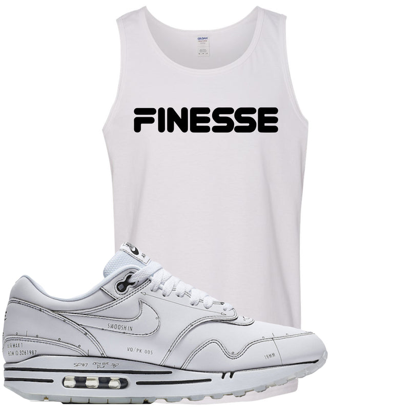 Nike Air Max 1 Sketch to Shelf White Sneaker Hook Up Finesse White Mens Tank Top