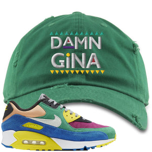 Nike Air Max 90 Viotech 2.0 Sneaker Hook Up Damn Gina Kelly Green Distressed Dad Hat
