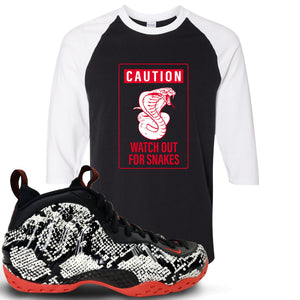 Foamposite One Snakeskin Sneaker Hook Up Caution Snake Black and White Ragalan T-Shirt