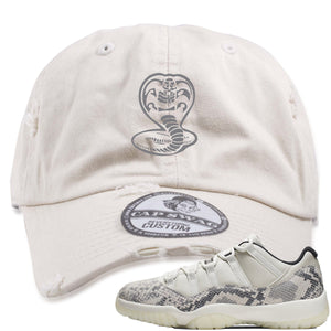 Air Jordan 11 Low Snakeskin Light Bone Sneaker Hook Up Cobra Snake Stone Distressed Dad Hat