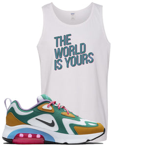 Nike WMNS Air Max 200 Mystic Green Sneaker Hook Up The World Is Yours White Mens Tank Top
