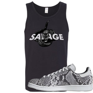 Adidas Stan Smith Grey Snakeskin Sneaker Hook Up Savage Snake Black Mens Tank Top
