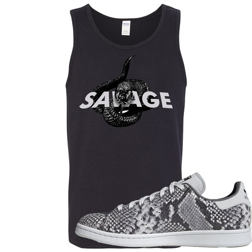Adidas Stan Smith Grey Snakeskin Sneaker Match Savage Snake Black Mens Tank Top