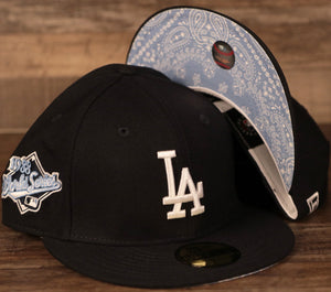 Los Angeles Dodgers navy New Era 59fifty of the 1988 World Series with icy light blue bandana bottom