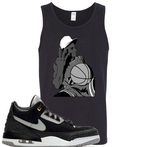 Air Jordan 3 Tinker Black Cement Sneaker Match Jordan Three Fingers Black Mens Tank Top