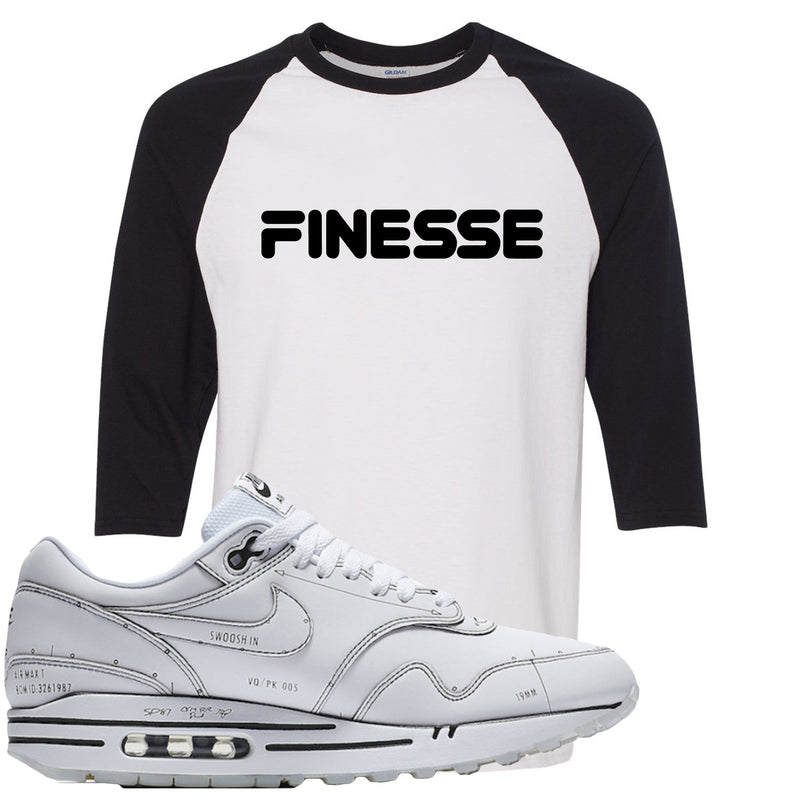 Nike Air Max 1 Sketch to Shelf White Sneaker Hook Up Finesse White and Black Raglan T-Shirt