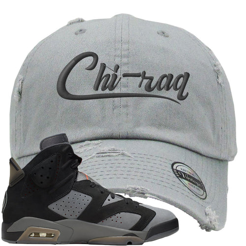 Air Jordan 6 PSG Sneaker Match Chi-Raq Light Gray Distressed Dad Hat
