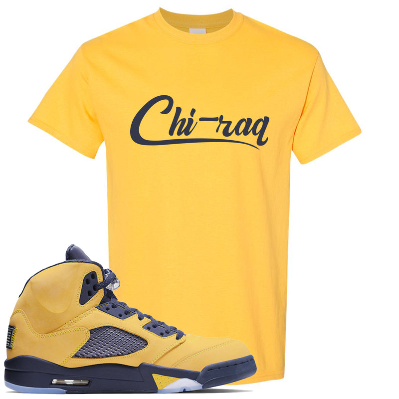 Air Jordan 5 Michigan Inspire Sneaker Hook Up Chi-raq Daisy Yellow T-Shirt