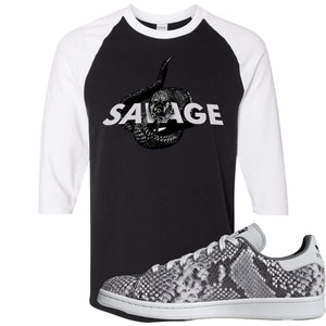 Adidas Stan Smith Grey Snakeskin Sneaker Hook Up Savage Snake Black and White Raglan T-Shirt