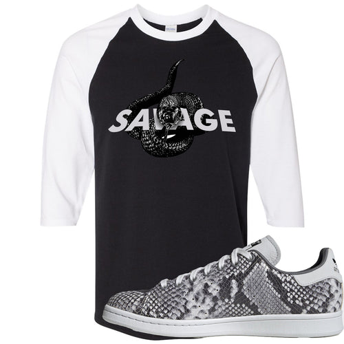 Adidas Stan Smith Grey Snakeskin Sneaker Match Savage Snake Black and White Raglan T-Shirt
