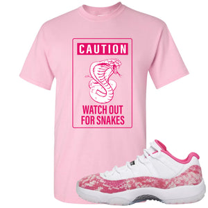 Air Jordan 11 Low WMNS Pink Snakeskin Sneaker Hook Up Caution Snake Sign Light Pink T-Shirt
