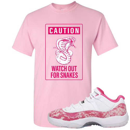 4c21437557353a Air Jordan 11 Low WMNS Pink Snakeskin Sneaker Match Caution Snake Sign  Light Pink T-