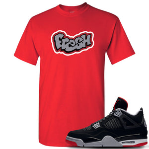 This red and grey t-shirt will match great with your Air Max Jordan 4 Bred shoes