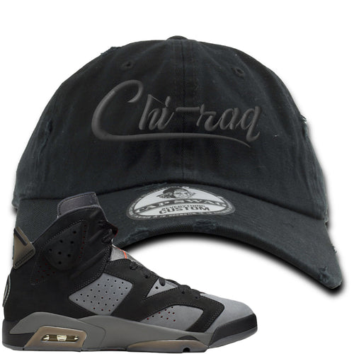 Air Jordan 6 PSG Sneaker Match Chi-Raq Black Distressed Dad Hat
