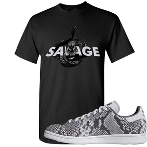 Adidas Stan Smith Grey Snakeskin Sneaker Hook Up Savage Snake Black T-Shirt