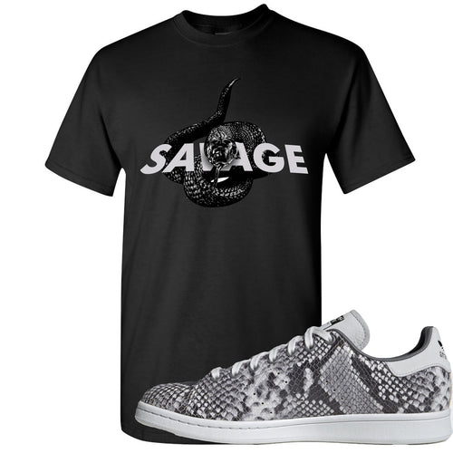 Adidas Stan Smith Grey Snakeskin Sneaker Match Savage Snake Black T-Shirt