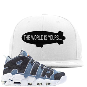 Nike Air More Uptempo Denim Sneaker Hook Up The World is Yours Blimp White Snapback