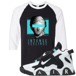 Nike Air Barrage Mid Cabana Sneaker Hook Up Intense Feeling Black and White Raglan T-Shirt