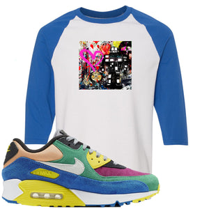 Nike Air Max 90 Viotech 2.0 Sneaker Hook Up Mister Brainwash White and Royal Blue Raglan T-Shirt