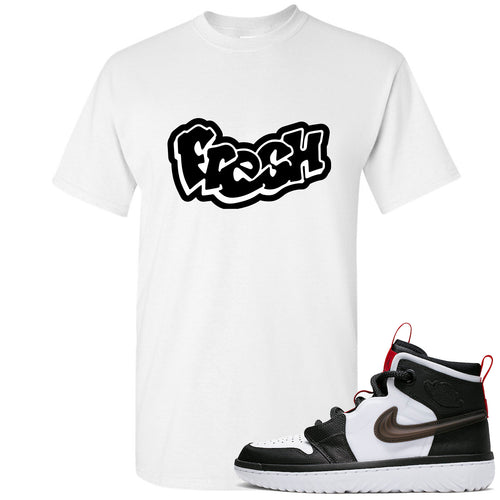 Air Jordan 1 High React White Black Sneaker Match Fresh Logo White T-Shirt