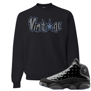 Air Jordan 13 Cap and Gown Sneaker Hook Up Vintage Star Logo Black Sweater