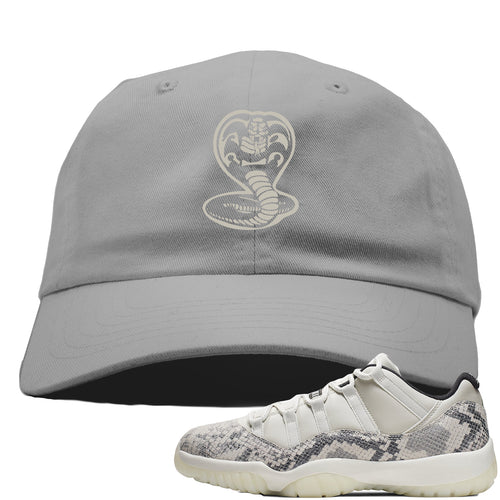 Air Jordan 11 Low Snakeskin Light Bone Sneaker Match Cobra Snake Gray Dad Hat