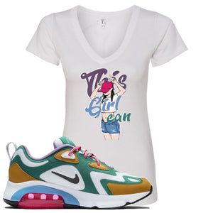 Nike WMNS Air Max 200 Mystic Green Sneaker Hook Up This Girl Can White Women V-Neck T-Shirt