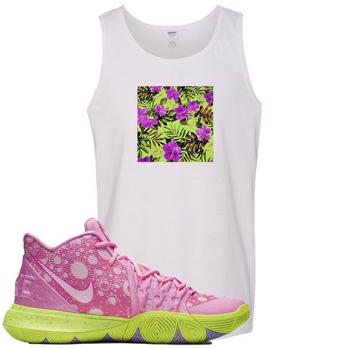 Spongebob Squarepants x Nike Kyrie 5 Patrick Star Sneaker Match Hawaiian Pattern White Mens Tank Top