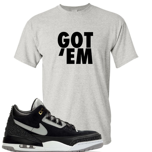 Air Jordan 3 Tinker Black Cement Sneaker Match Got Em Sports Grey T-Shirt