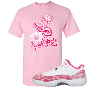 Air Jordan 11 Low WMNS Pink Snakeskin Sneaker Hook Up Snake and Lotus Light Pink T-Shirt