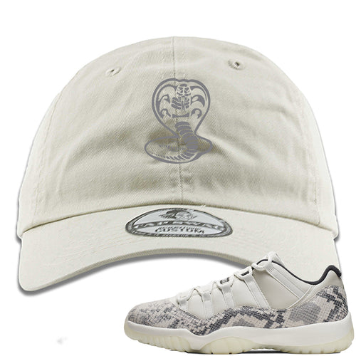 Air Jordan 11 Low Snakeskin Light Bone Sneaker Match Cobra Snake Ivory Dad Hat