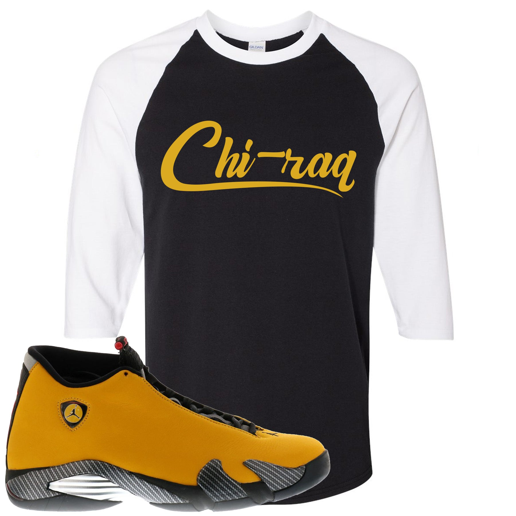 finest selection 7d8dd 08432 Air Jordan 14 Reverse Ferrari Sneaker Match Chi-raq Black and White Raglan  T-Shirt