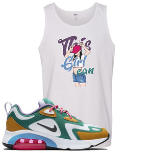 Nike WMNS Air Max 200 Mystic Green Sneaker Hook Up This Girl Can White Mens Tank Top