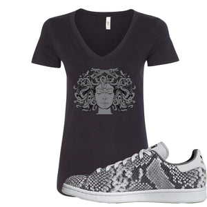 Adidas Stan Smith Grey Snakeskin Sneaker Hook Up Medusa Black Women V-Neck T-Shirt