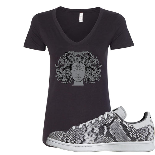 Adidas Stan Smith Grey Snakeskin Sneaker Match Medusa Black Women V-Neck T-Shirt