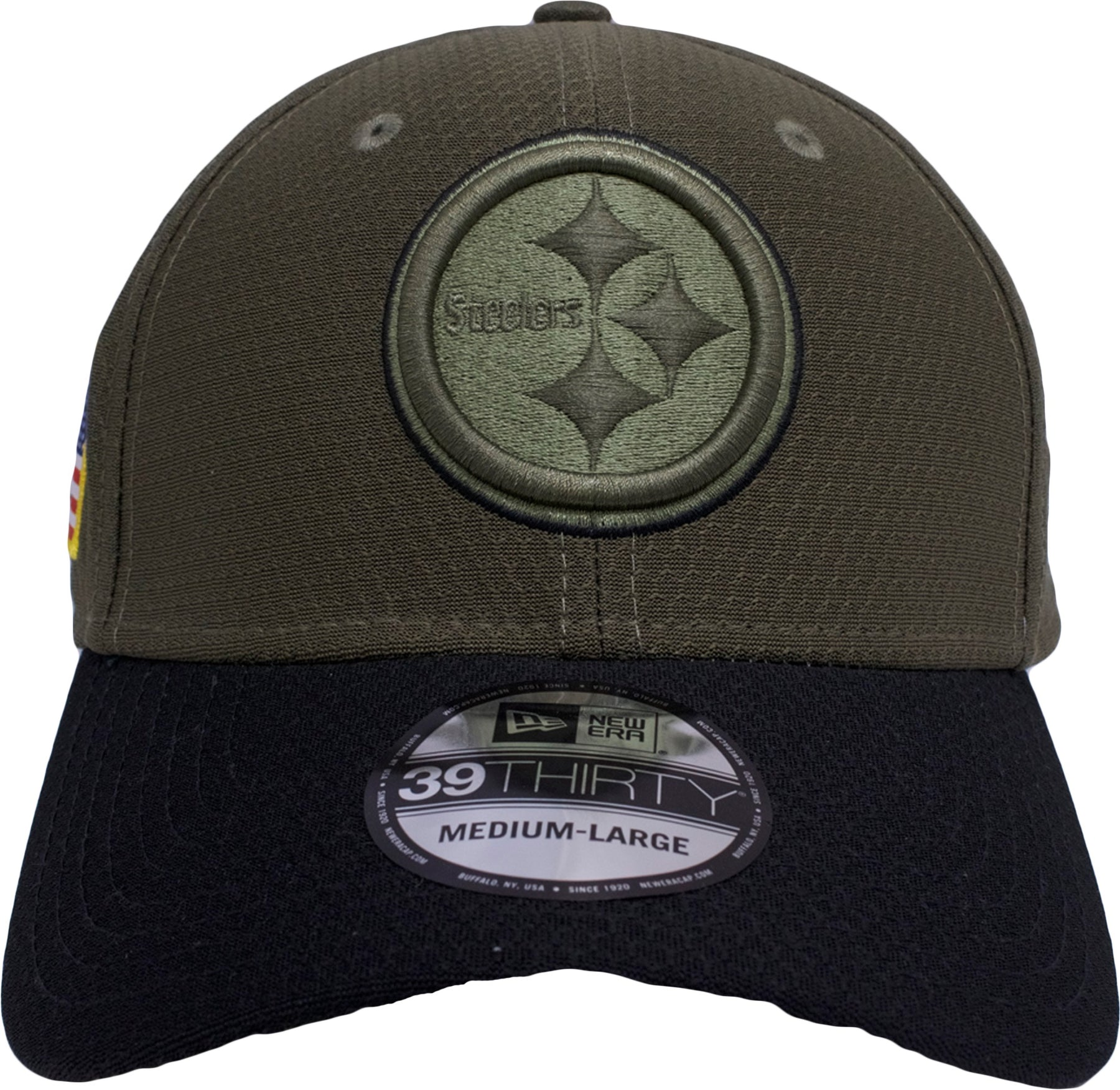 italy on the front of the stretch fit pittsburgh steelers salute to service  fitted cap is 07530df74